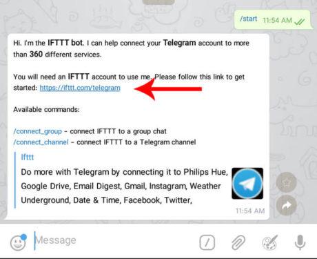 ربات تلگرام IFTTT